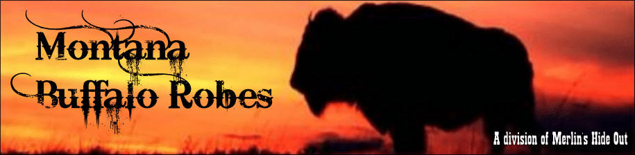 Montana Buffalo Robes logo with silhouette of a bison in the sunset.